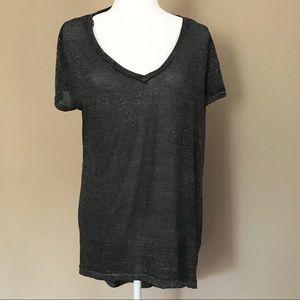 Divided H&M large top v neck high low black
